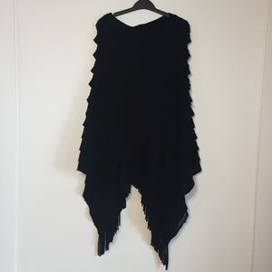 Black tiered knit poncho